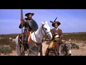 Don Chisciotte e Sancho Panza interpretati da Franco Franchi e Ciccio Ingrassia. Cervantes vorrebbe i due nativi delle Asturie, ma i due comici hanno uno spiccato accento siculo. Vale come
