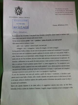 La lettera dell'accademia della crusca che fa entrare la parola petaloso nel suo vocabolario